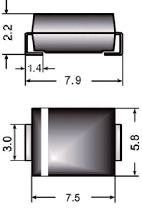Dióda Z Semikron Z3SMC6.8, DO-214AB, zener. napätie 6.8 V