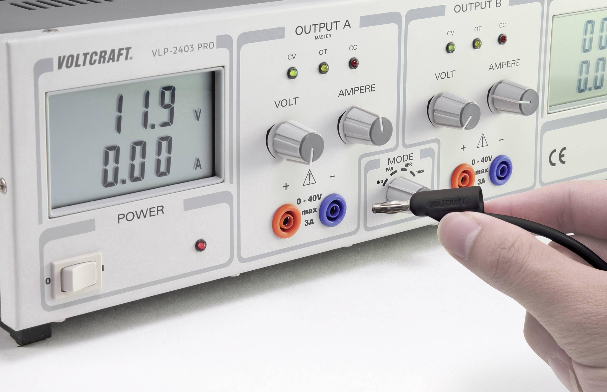Měřicí kabel VOLTCRAFT MSB-300 [lamelová zástrčka 4 mm - lamelová zástrčka 4 mm] 0.75 m, černá