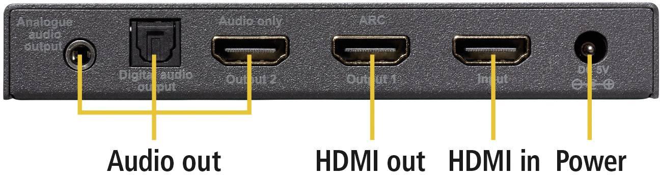 Audio extraktor HDMI zásuvka ⇒ HDMI zásuvka, jack zásuvka 3,5 mm, Toslink zásuvka (ODT) Marmitek Connect AE24 UHD 2.0 08334