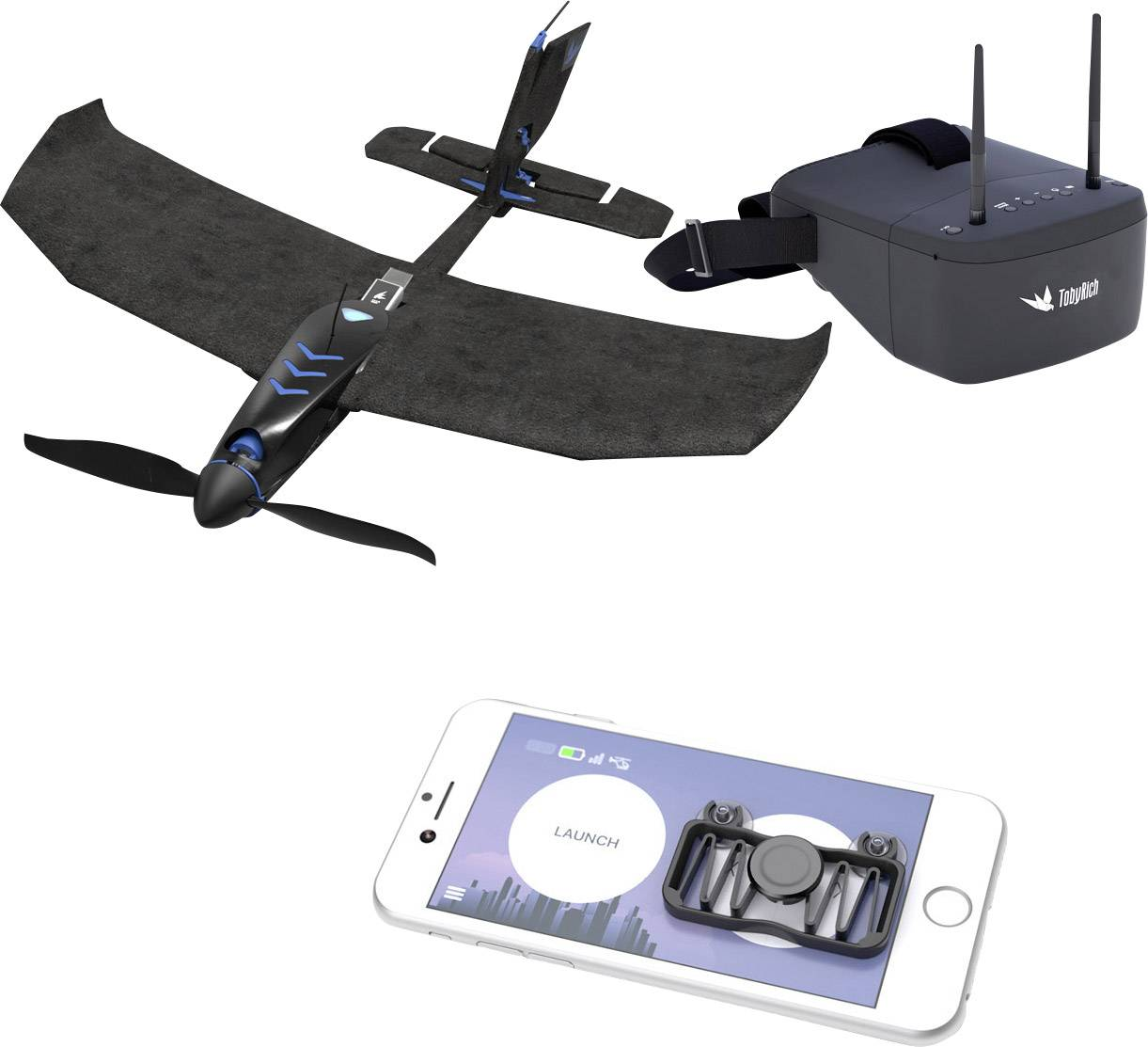 RC model lietadla pre smartfóny s Android a iOS TobyRich SmartPlane PRO FPV SPFP01-017