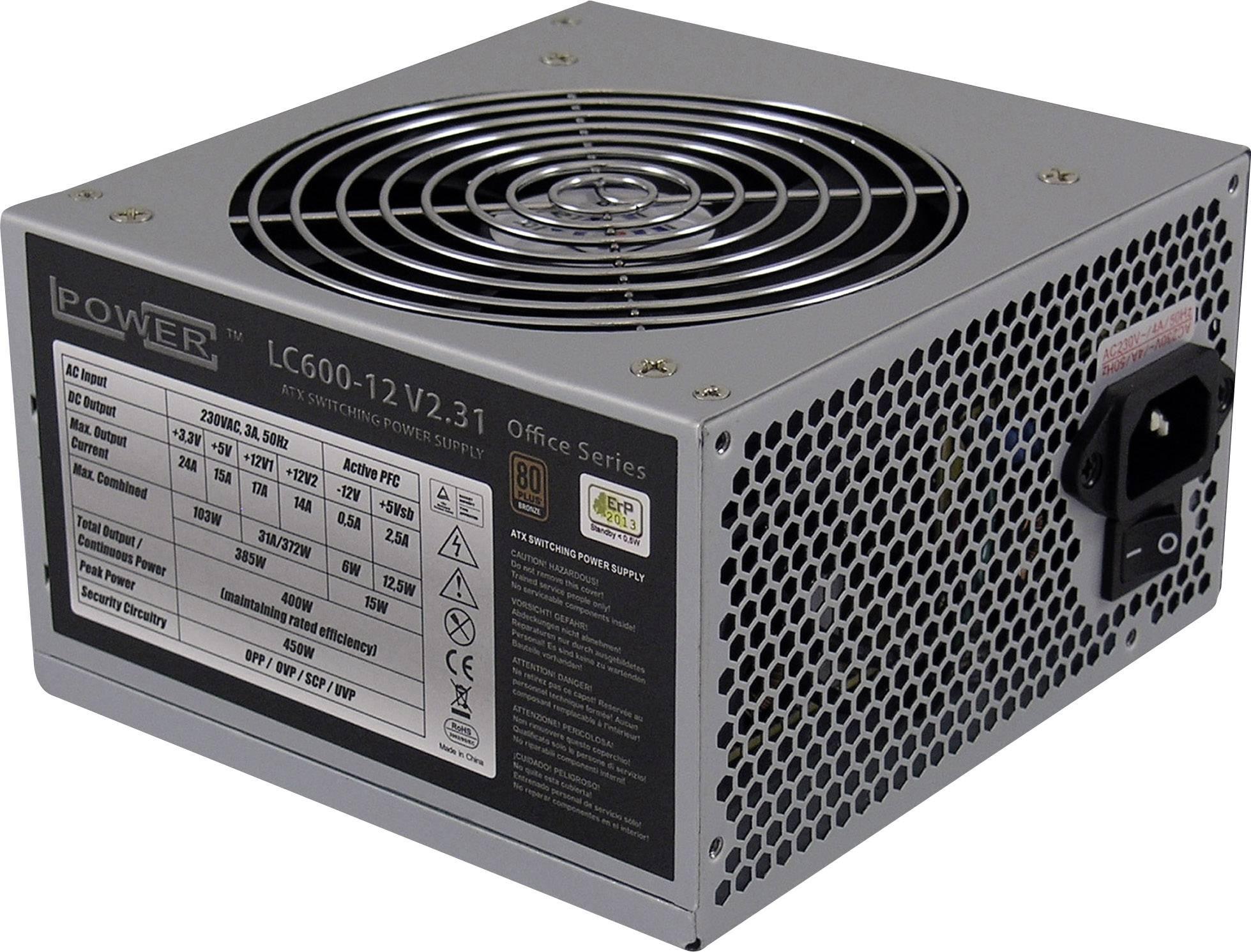 PC síťový zdroj LC-Power LC600-12 V 2.31 450 W ATX bez certifikace