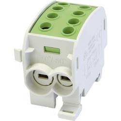 HoraeTec 106297 odbočovací svorka hlavního vedení mosaz, PA šedobílá (RAL 7035), žlutá, zelená 1pólový 160 A 690 V Typ vodiče = PE
