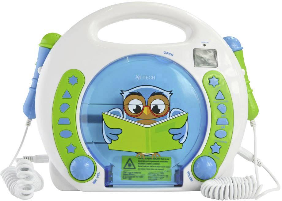 Dětský CD přehrávač X4 Tech Bobby Joey Lese Eule USB, SD včetně mikrofonu, vč. karaoke, modrá, bílá