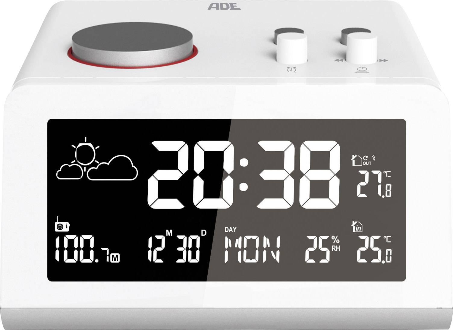 Digitální bezdrátová meteostanice a radiobudík 2v1 ADE WS1710, USB nabíječka mobilů