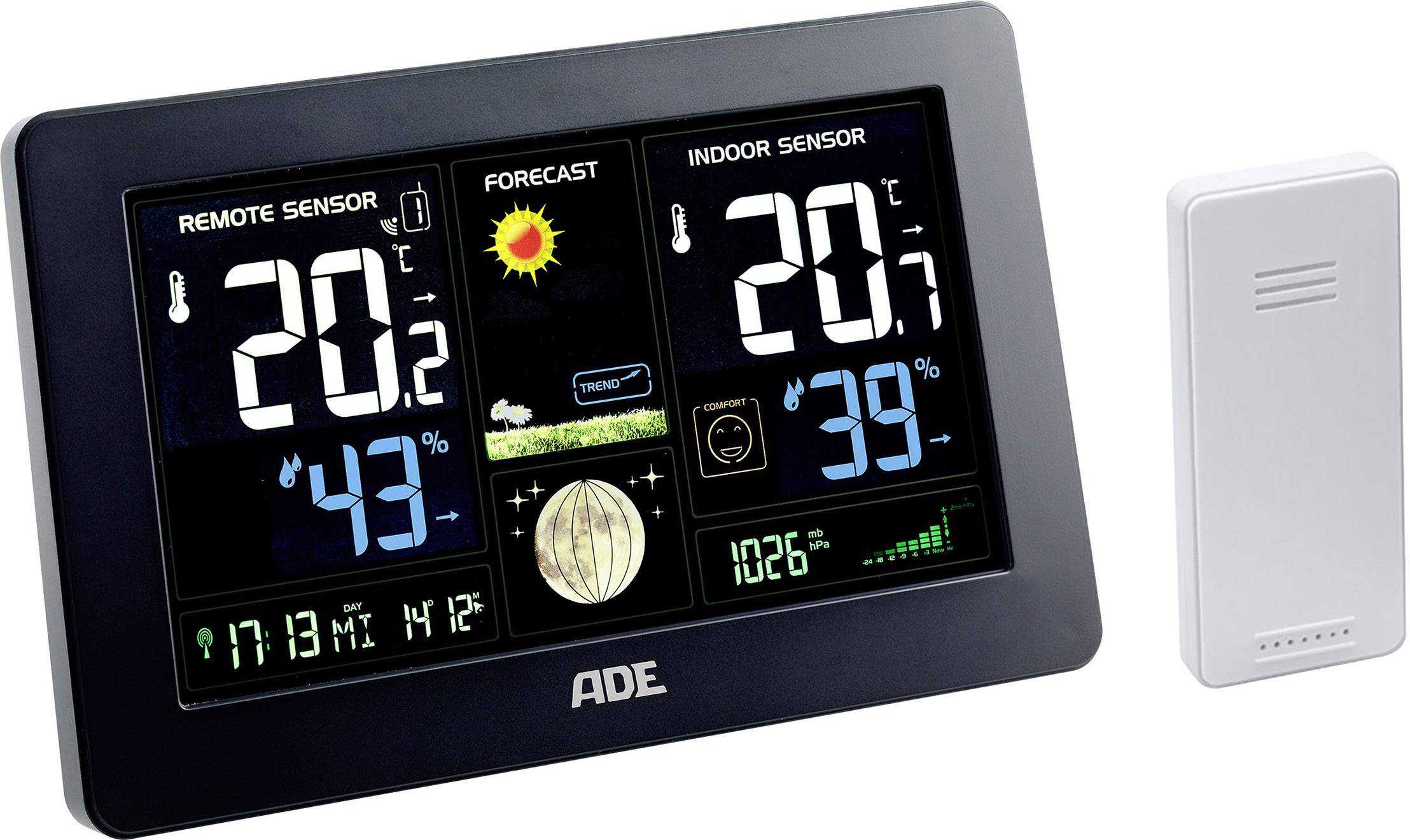 Digitální bezdrátová meteostanice s venkovním senzorem ADE WS 1704, max. dosah 60 m