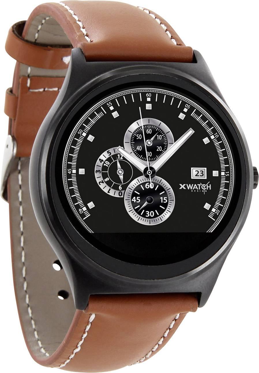 Chytré hodinky X-WATCH QIN XW Prime II, koňaková, černá