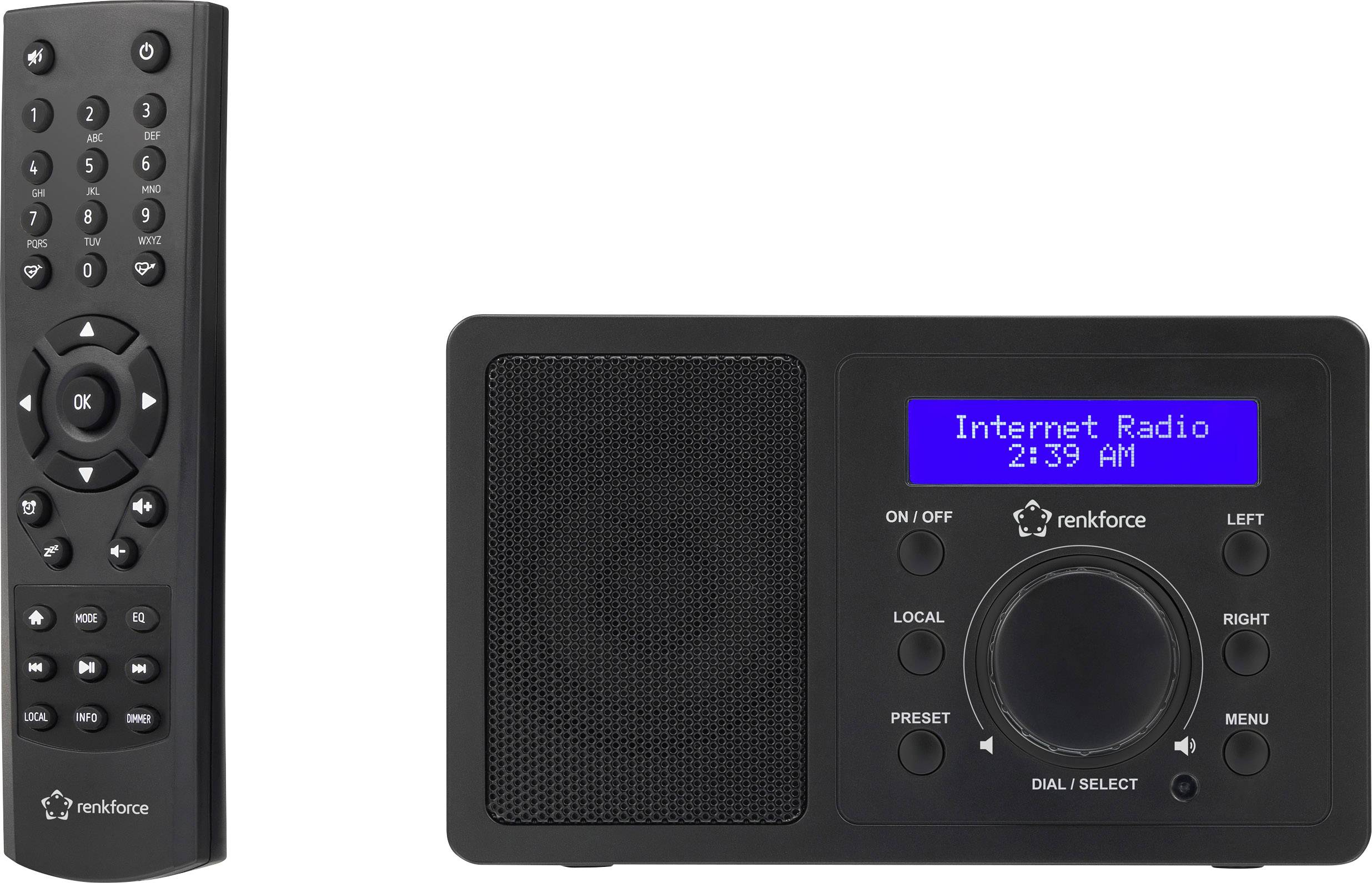 Internetové stolní rádio Renkforce RF-IR-MONO1, Wi-Fi, černá