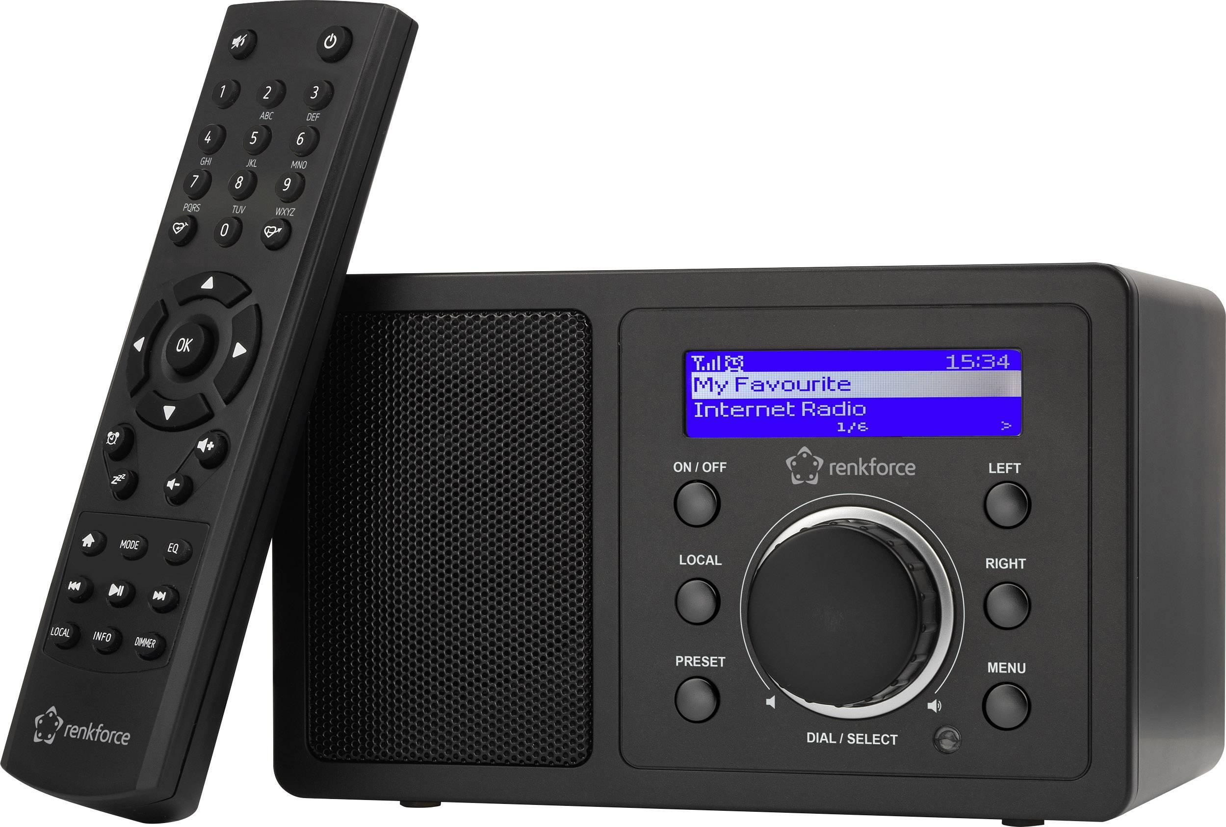 Internetové stolné rádio Renkforce RF-IR-MONO1, Wi-Fi, čierna