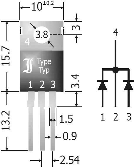 Pole Schottkyho diód - usmerňovač Diotec SBCT2040, SIP-3, 20 A