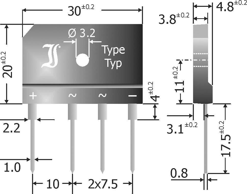 Jednosmerný mostíkový usmerňovač 25 A Diotec, GBI25A, Menovitý prúd 25 A, U(RRM) 50 V