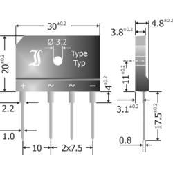 Můstkový usměrňovač Diotec GBI25M, U(RRM) 1000 V, 25 A