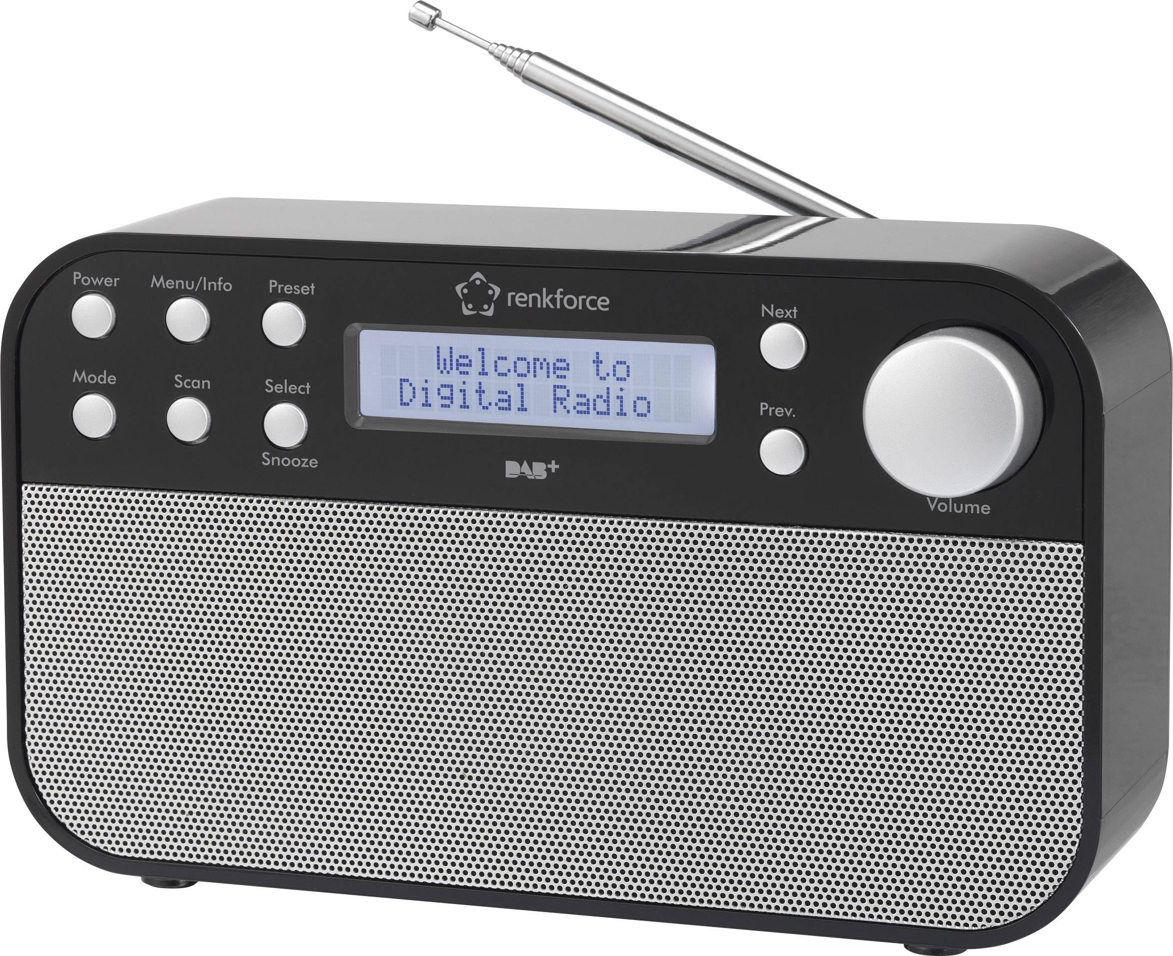 DAB+, FM prenosné rádio Renkforce RF-DAB-STEREO1, DAB+, UKW, čierna