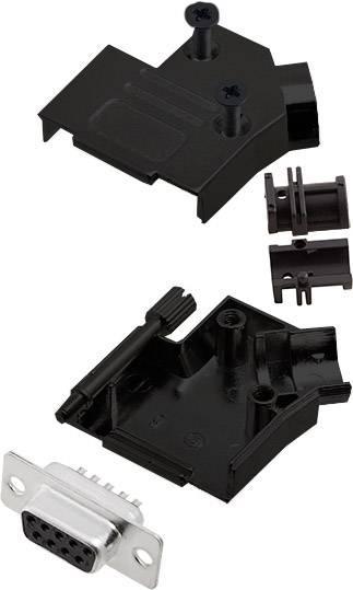 Sada D-SUB zásuvková lišta encitech D45ZK09-BK-DBS-K, 45 °, pólů 9, pájecí kalíšek, 1 ks