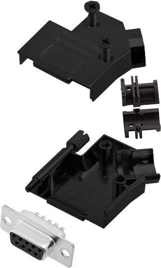 Sada D-SUB zásuvková lišta encitech D45ZK09-BK-DMS-K, 45 °, pólů 9, pájecí kalíšek, 1 ks