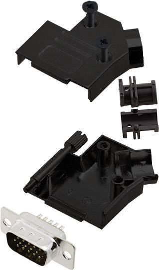 Sada D-SUB kolíkové lišty encitech D45ZK09-BK-HDP15-K, 45 °, pólů 15, pájecí kalíšek, 1 ks