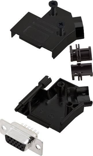 Sada D-SUB zásuvková lišta encitech D45ZK09-BK-HDS15-K, 45 °, pólů 15, pájecí kalíšek, 1 ks