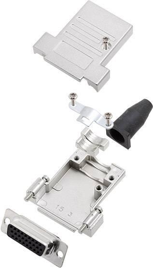 Sada D-SUB zásuvková lišta encitech D45ZK15-BK-DBS-K, 45 °, pólů 15, pájecí kalíšek, 1 ks