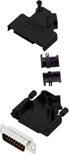 Sada D-SUB kolíkové lišty encitech D45ZK15-BK-DMP-K, 45 °, pólů 15, pájecí kalíšek, 1 ks