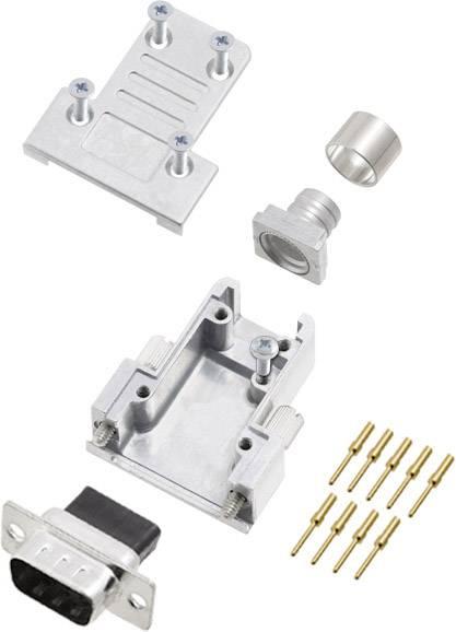 Sada D-SUB kolíkové lišty encitech DCRP09-DBCP-CF65-CS80-K, 180 °, pólů 9, pájecí kalíšek, 1 ks