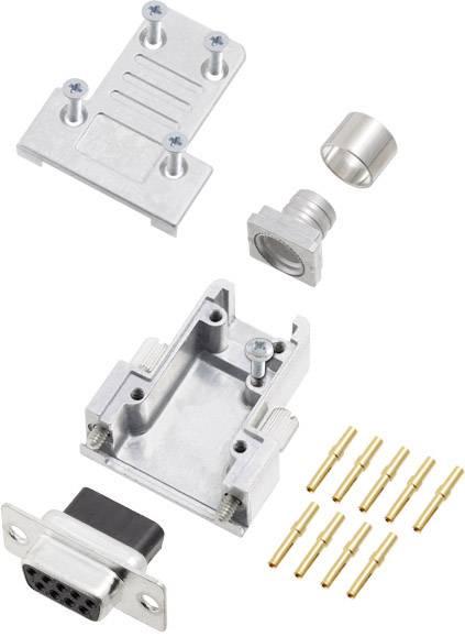 Sada D-SUB zásuvková lišta encitech DCRP09-DBCS-CF65-CS80-K, 180 °, pólů 9, pájecí kalíšek, 1 ks