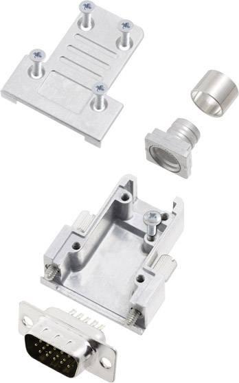 Sada D-SUB kolíkové lišty encitech DCRP09-HDP15-CF65-CS80-K, 180 °, pólů 9, pájecí kalíšek, 1 ks