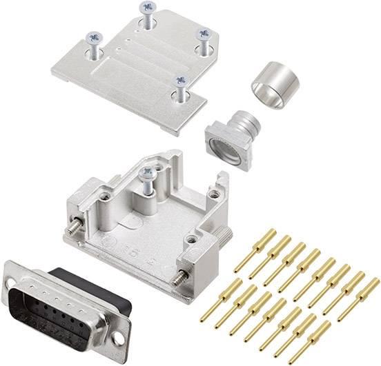 Sada D-SUB kolíkové lišty encitech DCRP15-DBCP-CF65-CS80-K, 180 °, pólů 15, krimpované připojení, 1 ks