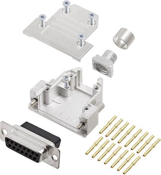Sada D-SUB zásuvková lišta encitech DCRP15-DBCS-CF65-CS80-K, 180 °, pólů 15, pájecí kalíšek, 1 ks