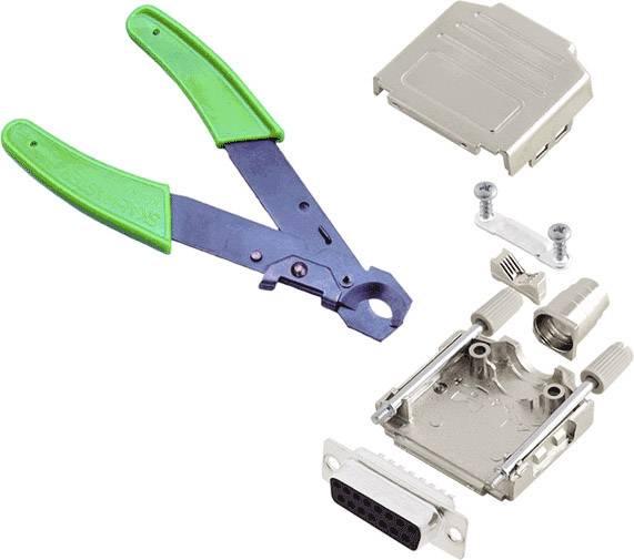 Sada D-SUB zásuvková lišta encitech DPPK-M-15-DBS-CK, 180 °, pólů 15, pájecí kalíšek, 1 ks
