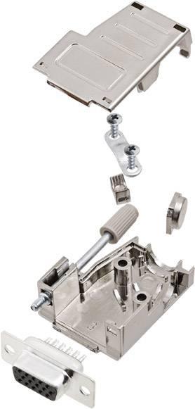 D-SUB zásuvková lišta encitech DSSK09-M-HDS15-K, 180 °, 45 °, pólů 9, pájecí kalíšek, 1 ks