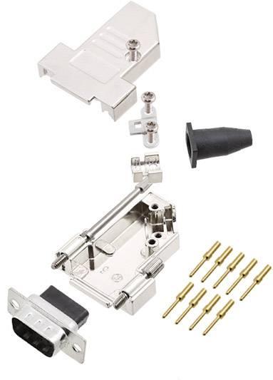 Sada D-SUB kolíkové lišty encitech DTSL09-LJSRG-S-DBCP-K, 45 °, pólů 9, krimpované připojení, 1 ks