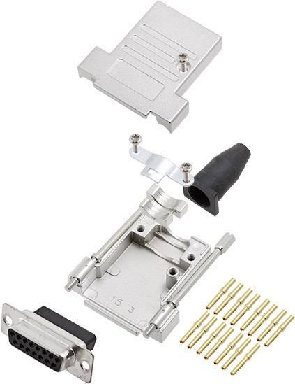Sada D-SUB zásuvková lišta encitech DTSL09-T-JSRG-DBCS15-K, 180 °, pólů 15, krimpované připojení, 1 ks