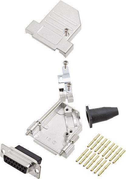 Sada D-SUB zásuvková lišta encitech DTSL15-LJSRG-S-DBCS-K, 45 °, pólů 15, krimpované připojení, 1 ks