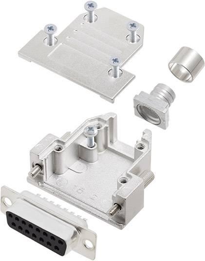 Sada D-SUB zásuvková lišta encitech DCRP15-DBS-CF65-CS80-K, 180 °, pólů 15, pájecí kalíšek, 1 ks