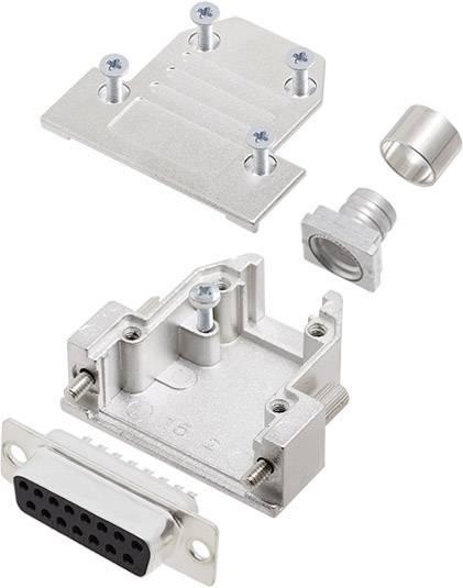 Sada D-SUB zásuvková lišta encitech DCRP15-DMS-CF65-CS80-K, 180 °, pólů 15, pájecí kalíšek, 1 ks