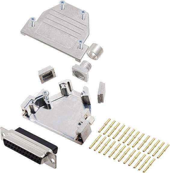 Sada D-SUB zásuvková lišta encitech DCRP25-DBCS-CF65-CS80-K, 45 °, 180 °, 45 °, pólů 25, pájecí kalíšek, 1 ks