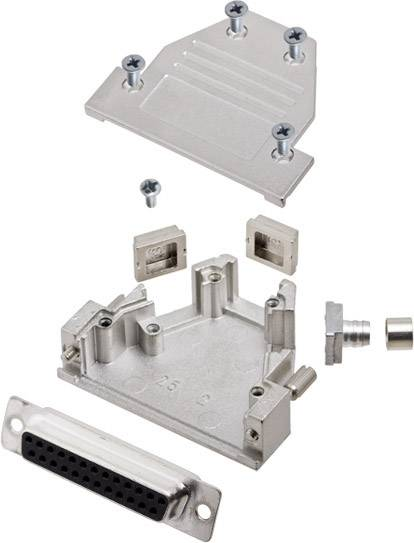 Sada D-SUB zásuvková lišta encitech DCRP25-DMS-CF65-CS80-K, 45 °, 180 °, 45 °, pólů 25, pájecí kalíšek, 1 ks