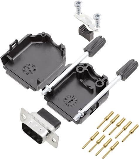 Sada D-SUB kolíkové lišty encitech DPPK09-BK-DBCP-K, 180 °, pólů 9, krimpované připojení, 1 ks