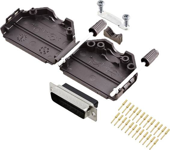 Sada D-SUB kolíkové lišty encitech DPPK25-BK-DBCP-K, 180 °, pólů 25, krimpované připojení, 1 ks