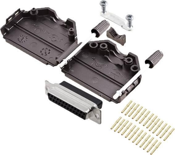 Sada D-SUB zásuvková lišta encitech DPPK25-BK-DBCS-K, 180 °, pólů 25, krimpované připojení, 1 ks