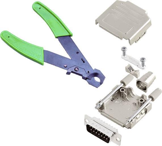 Sada D-SUB kolíkové lišty encitech DPPK-M-25-DBP-CK, 180 °, pólů 25, pájecí kalíšek, 1 ks