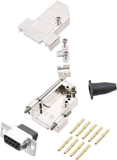Sada D-SUB zásuvková lišta encitech DTSL09-LJSRG-S-DBCS-K, 45 °, pólů 9, krimpované připojení, 1 ks