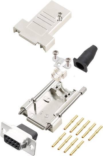 Sada D-SUB zásuvková lišta encitech DTSL09-LJSRG-T-DBCS-K, 180 °, pólů 9, krimpované připojení, 1 ks