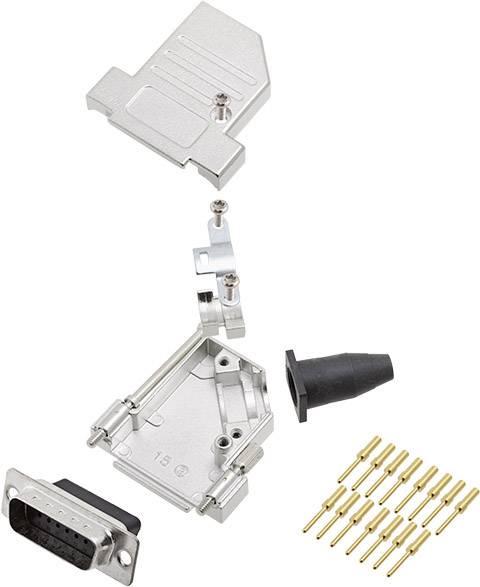 Sada D-SUB kolíkové lišty encitech DTSL15-LJSRG-S-DBCP-K, 45 °, pólů 15, krimpované připojení, 1 ks