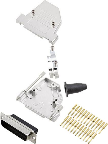 Sada D-SUB kolíkové lišty encitech DTSL25-LJSRG-S-DBCP-K, 45 °, pólů 25, krimpované připojení, 1 ks