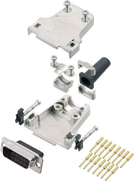 Sada D-SUB kolíkové lišty encitech DTZF15-DBCP-K, 180 °, pólů 15, krimpované připojení, 1 ks