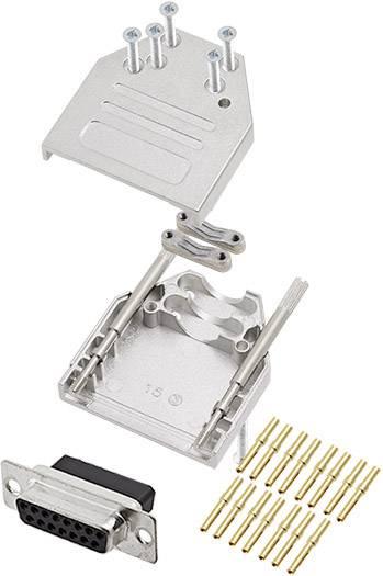 Sada D-SUB zásuvková lišta encitech DTZI15-DBCS-K, 180 °, pólů 15, krimpované připojení, 1 ks