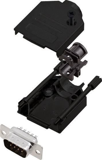 Sada D-SUB kolíkové lišty encitech DTZK09-BK-DBP-K, 180 °, pólů 9, pájecí kalíšek, 1 ks