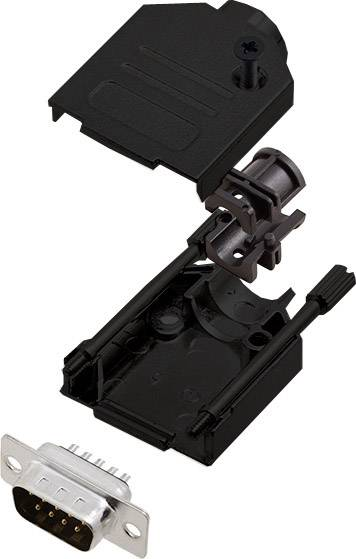 Sada D-SUB kolíkové lišty encitech DTZK09-BK-DMP-K, 180 °, pólů 9, pájecí kalíšek, 1 ks