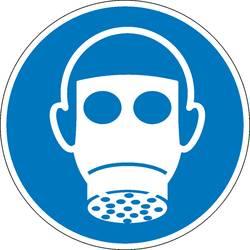 Příkazová tabulka Používejte chránič dýchacích cest, Hygiena a vzdálenost samolepicí fólie (Ø) 50 mm ISO 7010 6 ks
