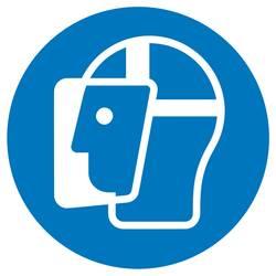 Příkazová tabulka Používejte chránič obličeje, Hygiena a vzdálenost samolepicí fólie (Ø) 50 mm ISO 7010 6 ks